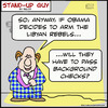 Cartoon: 1aa107SUGbackgroundchecks obama (small) by rmay tagged 1aa107sugbackgroundchecks,obama,libya,background