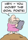 Cartoon: goal posts moved moses (small) by rmay tagged goal posts moved moses