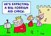 Cartoon: king big foreign aid check (small) by rmay tagged king,big,foreign,aid,check